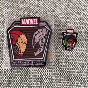 Marvel Iron Man/Ultron patch & Hulk/Red Hulk pin